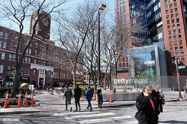 Main Street at left and Broadway in Kendall Square in Cambridge Mass on March 25 2015