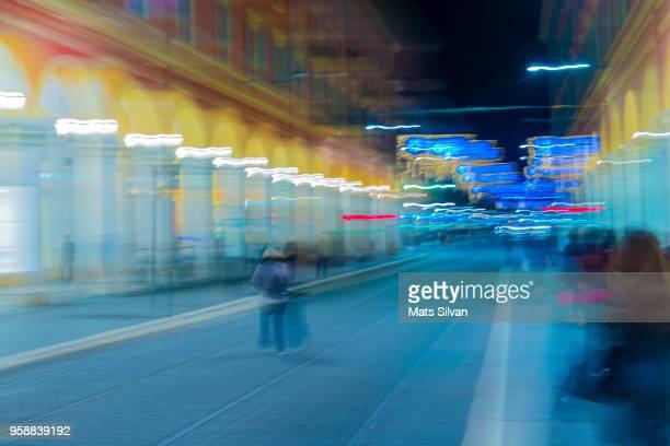 Main Street at Night in Long Exposure in Nice City