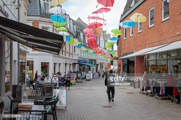 main street in a small city in denmark - danish culture stock pictures, royalty-free photos & images