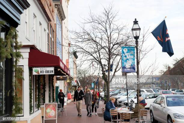 main street in annapolis - annapolis stock pictures, royalty-free photos & images