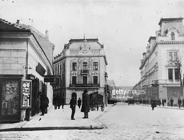 A main street in Belgrade Serbia during World War I circa 1914
