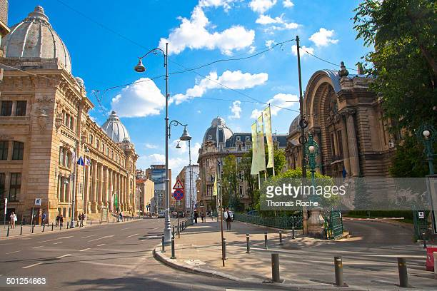 Main street in Bucharest with the National Museum of Romanian History on th left and the famous CEC Palace on the right