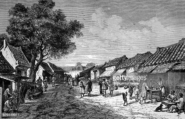 Main street in hue former kingdom of annam now vietnam historical illustration wood engraving circa 1888