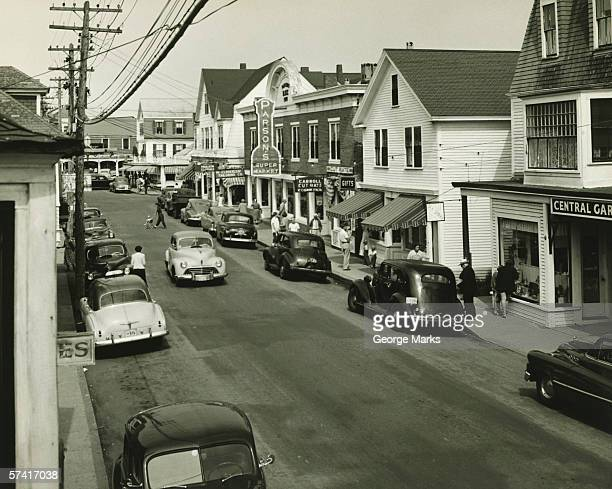 Main street in Massachusetts, (B&W), (Elevated view)