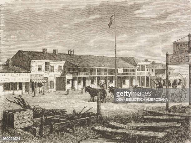 Main street in the City of Saints, United States of America, drawing by Francois-Fortune Ferogio from a sketch of Burton, from Journey to the City of...