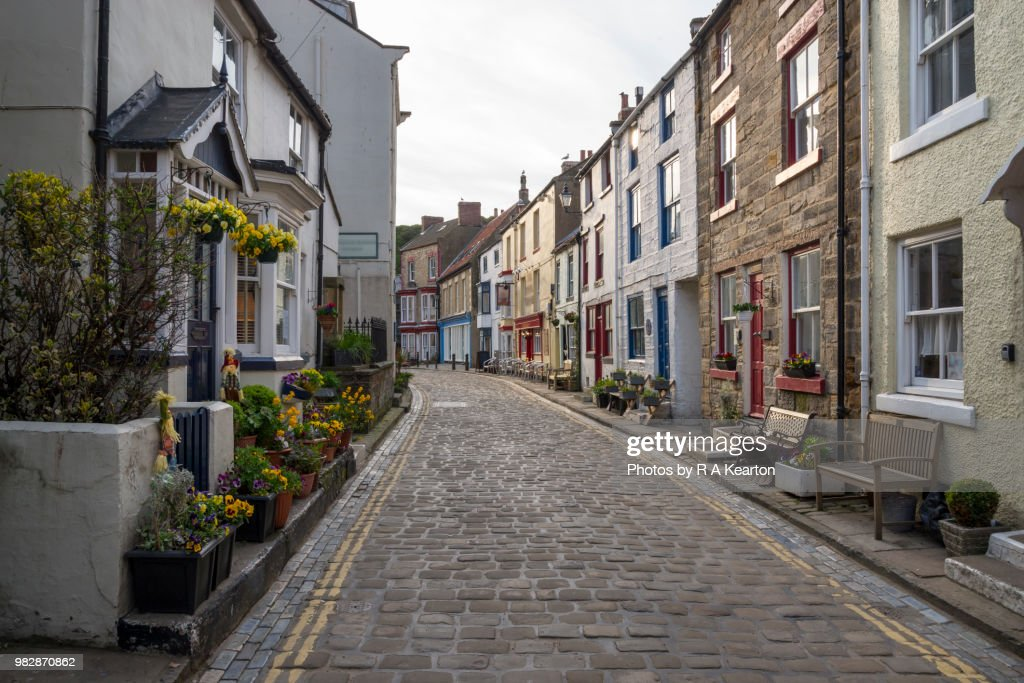 Main street in the village of Staithes, North Yorkshire, England : Stock Photo