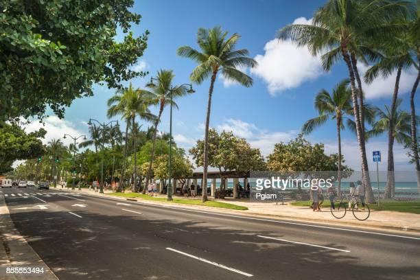 Main Street Kalakaua Avenue in Waikiki Beach Hawaii