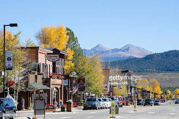 main street of frisco, colorado - aspen colorado stock photos and pictures