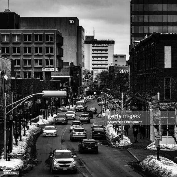main street of moncton - moncton stock photos and pictures