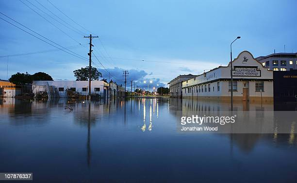 A main street of the city centre is shown covered in flood water on January 5 2011 in Rockhampton Australia All eyes are on the central Queensland...