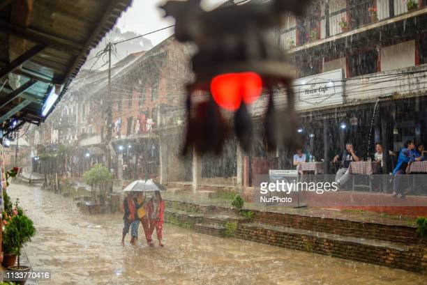 Main street of the old town during heavy rain in Bandipur Nepal on March 30 2019