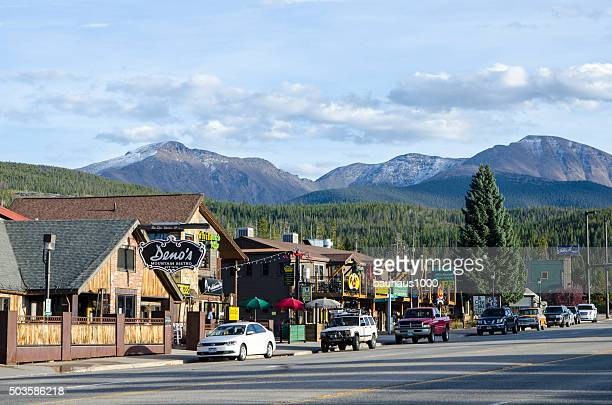 main street of winter park, colorado - colorado springs stock pictures, royalty-free photos & images