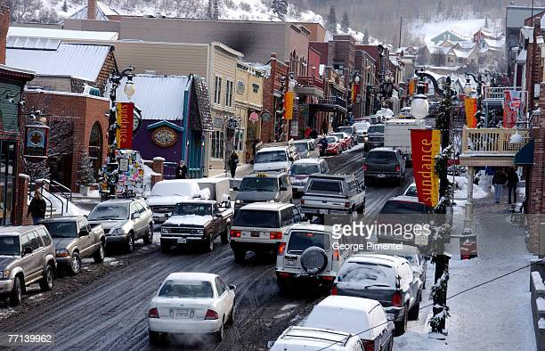 Main Street Park City Utah on Day 9 of the Sundance Film Festival after the first snow since the festival began