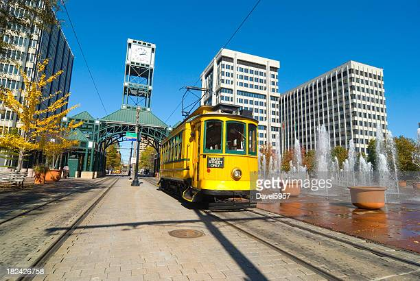 main street trolley in memphis, tn - tennessee stock pictures, royalty-free photos & images