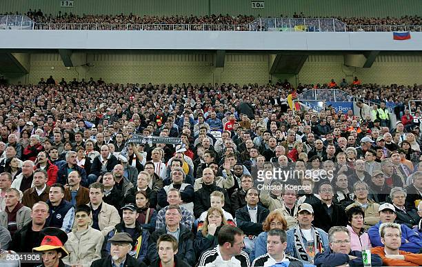 Main tribune of the Borussiapark during the friendly match between Germany and Russia on June 8 2005 in Monchengladbach Germany