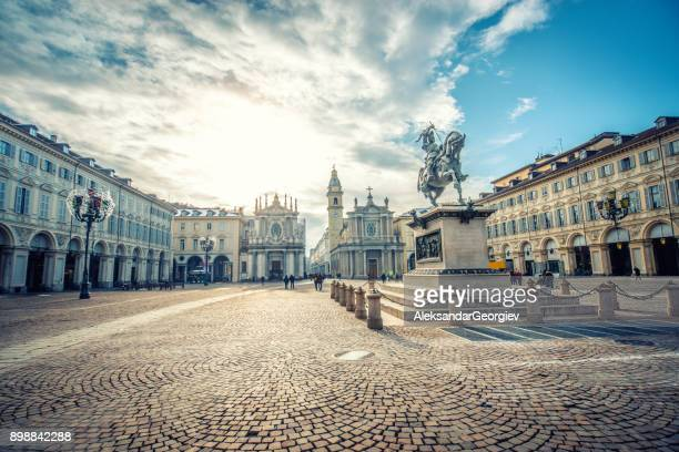 main view of san carlo square and twin churches, turin - turin stock pictures, royalty-free photos & images