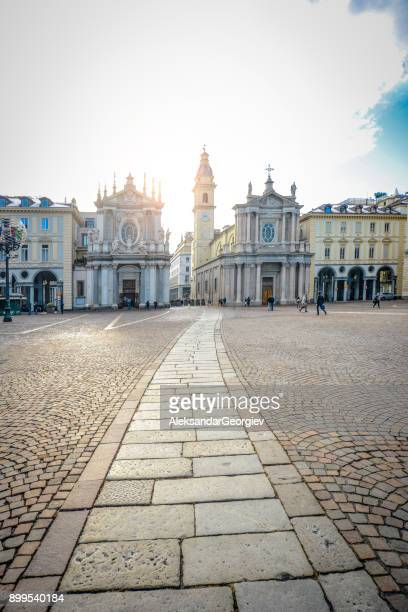 main view of san carlo square and twin churches, turin - piazza san carlo stock photos and pictures