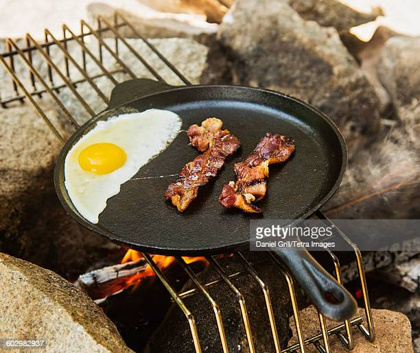 USA, Maine, Acadia National Park, Egg and bacon in skillet