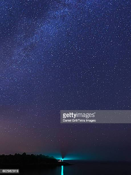 USA, Maine, Camden, Curtis Island Lighthouse at night
