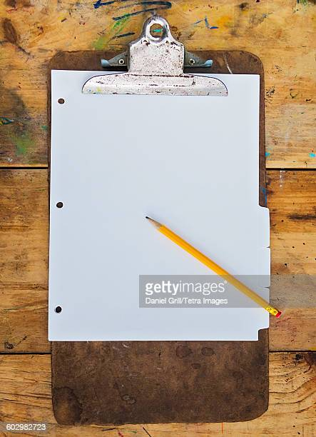 USA, Maine, Camden, Pencil and clipboard with blank paper
