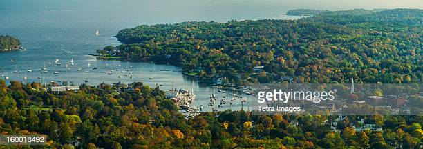 USA, Maine, Camden, View of coastline with bay and harbor