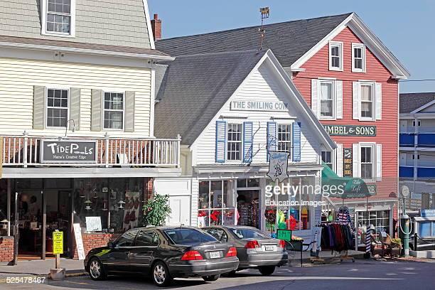 Maine coast Boothbay Harbor shops restaurants.
