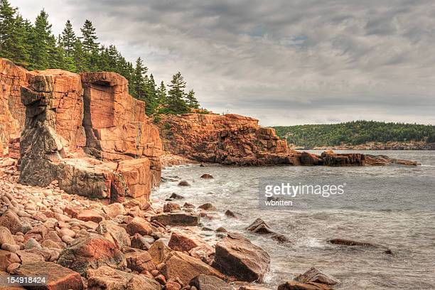 maine coastline with granite cliffs and boulders - bar harbor stock photos and pictures