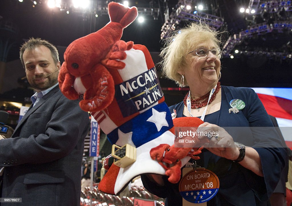 Maine delegate Dawn Gilbert shows off her lobster hat at the Republican National Convention at the Xcel Center in St. Paul, Minn., on Tuesday, Sept. 2, 2008.
