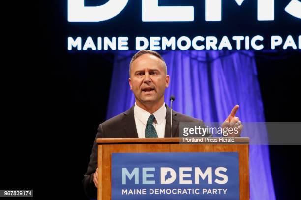 Maine Democratic gubenatorial candidate Adam Cote speaks at the biannual Democratic state convention in Lewiston on Saturday. Six Democratic...