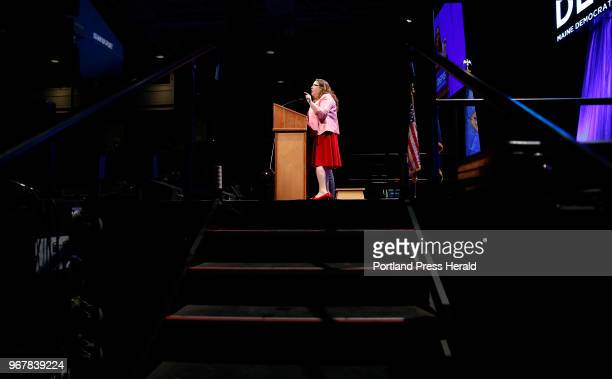 Maine Democratic gubenatorial candidate Diane Russell speaks at the biannual Democratic state convention in Lewiston on Saturday. Six Democratic...
