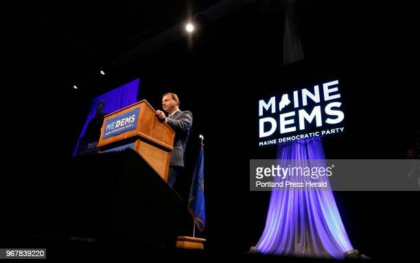 Maine Democratic gubenatorial candidate Mark Eves speaks at the biannual Democratic state convention in Lewiston on Saturday. Six Democratic...