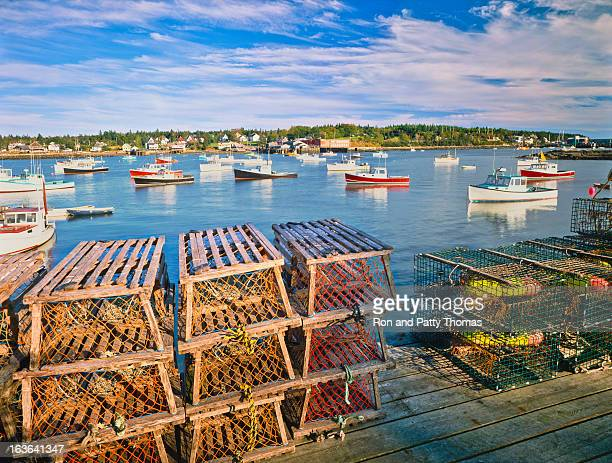 maine fishing village - maine stock pictures, royalty-free photos & images
