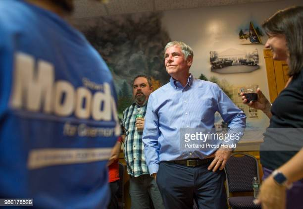 Maine gubernatorial candidate Shawn Moody looks around the room at his primary voting results gathering at Moody's Collision Center in Gorham on...