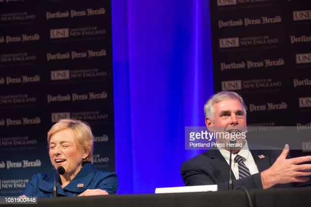 Maine gubernatorial debate Democratic candidate Janet Mills listens to Republican candidate Shawn Moody as he offers a rebuttal to one of her...
