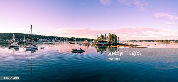 maine harbor panorama - maine stock pictures, royalty-free photos & images