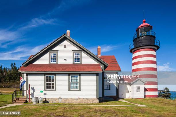 usa, maine, lubec, west quoddy head llight lighthouse - lubec stock photos and pictures