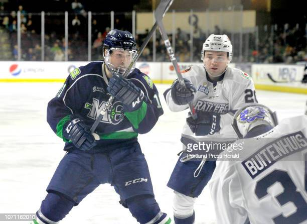 Maine Mariners hockey game vs Worcester Railers at Portland Mariner Jason Salvaggio looks for a rebound of his shot off Worcester goalie Evan...