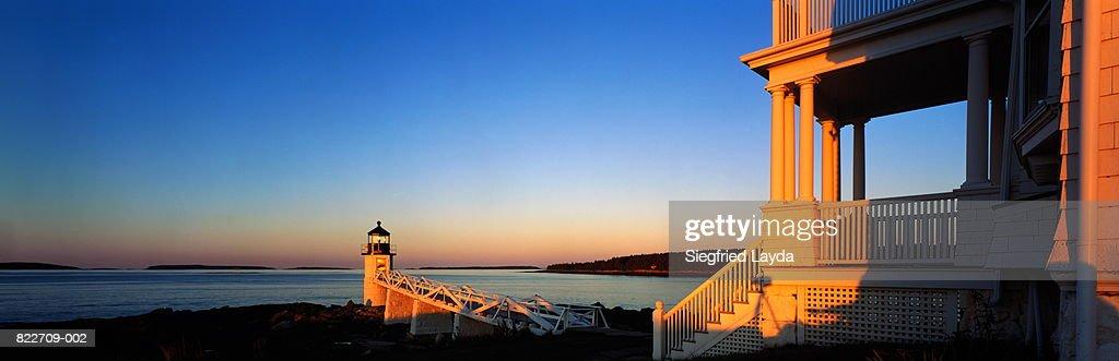 USA, Maine, Port Clyde, Marshall Point Lighthouse : Stock Photo
