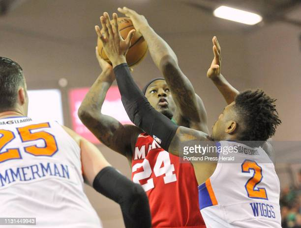 Maine Red Claws basketball game vs the Westchester Knicks at the Portland Expo Red Claw guard Archie Goodwin looks to get off a shot over Knick...