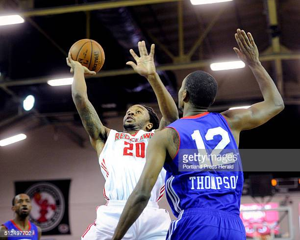 Maine Red Claws take on Delaware 87ers at the Expo on Thursday February 25 2016 Levi Randolph of Maine looks to get off a shot over Sam Thompson of...