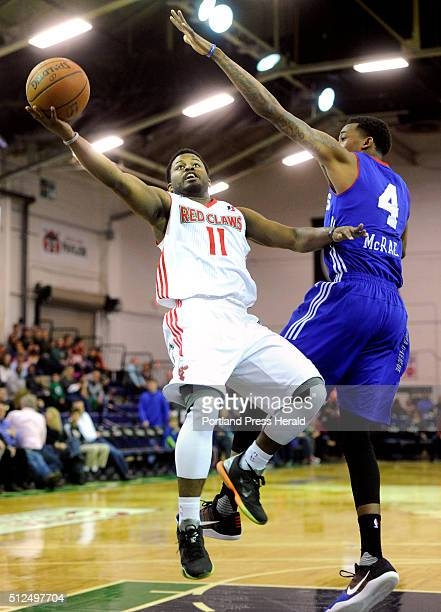 Maine Red Claws take on Delaware 87ers at the Expo on Thursday February 25 2016 Andre Stringer of Maine creates space to get off a shot around Jordan...