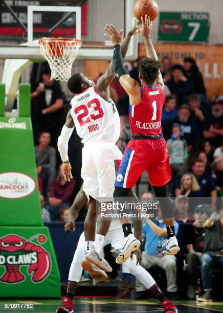 Maine Red Claws vs Delaware 87ers Jabari Bird of Maine blocks a shot by James Blackmon Jr in the third period