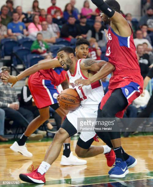 Maine Red Claws vs Delaware 87ers Jerome Seagears of Maine drives to the basket past James Webb III of Delaware in the second period
