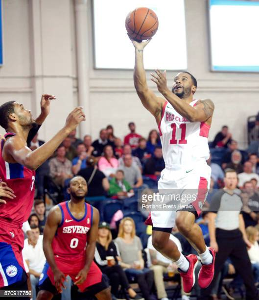 Maine Red Claws vs Delaware 87ers Jerome Seagears of Maine puts up a shot in front of James Webb III of Delaware in the second period