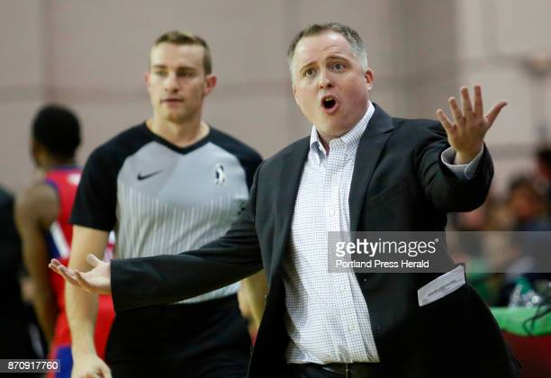 Maine Red Claws vs Delaware 87ers Maine coach Brandon Bailey appeals to the referees in the second period