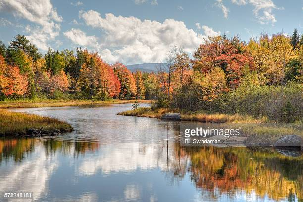 maine river with colorful fall foliage - new england usa stock pictures, royalty-free photos & images
