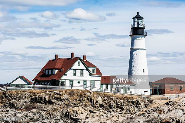 maine scene: portland head lighthouse - historical geopolitical location stock pictures, royalty-free photos & images