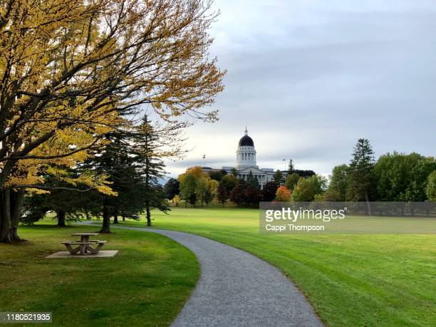maine state capital building in augusta, maine usa during autumn - augusta maine stock pictures, royalty-free photos & images