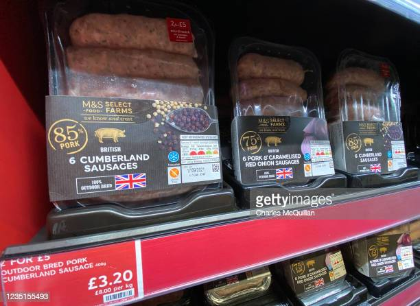 Mainland UK meat produce including Cumberland sausages is seen on a Northern Irish supermarket shelf on September 10, 2021 in Belfast, United...