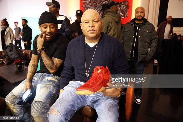 Maino and Shawn 'Pecas Costner' attend Angela Yee's Basketball Birthday Bash at Terminal 23 on January 14 in New York City